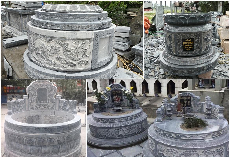 Mộ đá tròn đẹp - Mẫu Mộ đá tròn tam cấp hay mộ đá tròn tựa ngai của Đá mỹ nghệ Hồng Quang